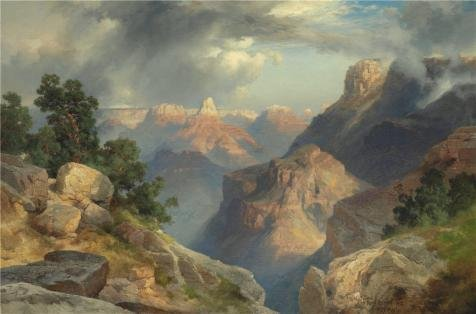 'Thomas Moran,Grand Canyon,1912' Oil Painting, 16x24 Inch / 41x62 Cm ,printed On High Quality Polyster Canvas ,this Imitations Art DecorativeCanvas Prints Is Perfectly Suitalbe For Hallway Decor And Home Gallery Art And Gifts