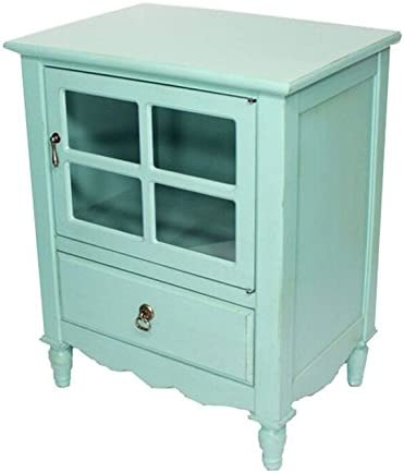 Heather Ann Creations The Vivian Collection Contemporary Living Room Wooden Single Door Single Drawer Accent Cabinet with 4-Paned Glass Inserts, Turquoise