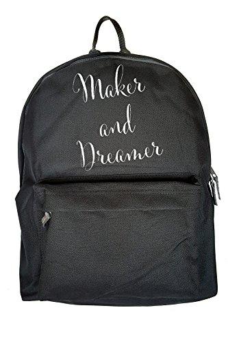 Maker And Dreamer Drucken Rucksack Gelegenheits Schwarz Tasche Sz4vCBD