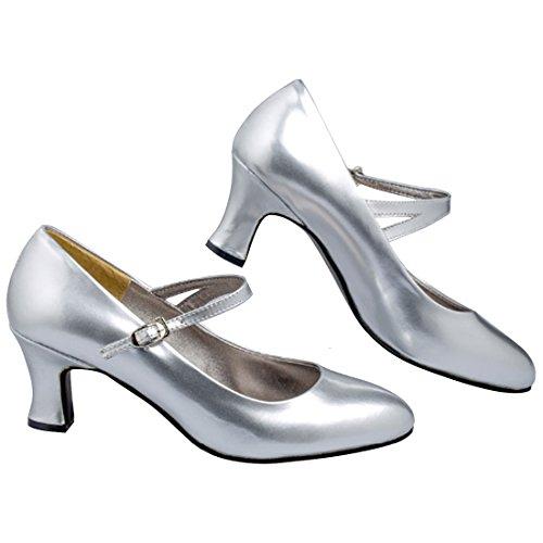 Oasap Mujer Sandalias Tacón Estilete Baile Latino Liso Satinado - Silvery