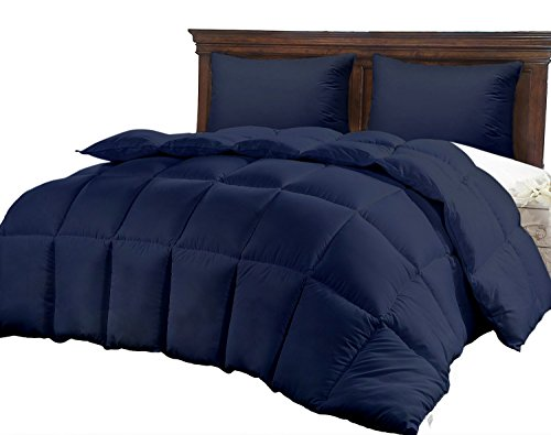 Best Queen Size Bed Navy Blue Luxury Quilted Comforter for Women, Hypoallergenic Microfiber One-Piece Set, Fluffy Hotel Reversible Duvet Insert, -Winter Softer Than Goose Alternative Down Comforters