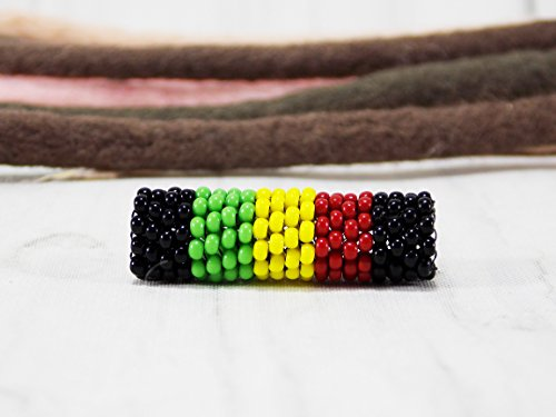 Handmade Rasta dread beads for dreadlock jewellery for girls with hairstyles Jamaica hair braid cuff Rastafarian accessory ()