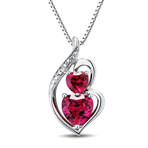 Sterling Silver Lab Created Ruby Heart Necklace with Diamond Accent – 18 Inch Box Chain