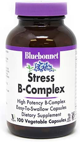 Bluebonnet Nutrition Stress B Complex Vegetable Capsules, Vitamin B6, B12, Biotin, Folate, Stress Relief, Vegan, Vegetarian, Gluten Free, Soy Free, Milk Free, Kosher, 100 Vegetable Capsules