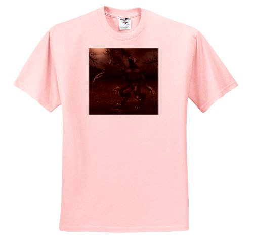 Renderly Yours Autumn And Halloween - Werewolf Howling At The Moon - T-Shirts - Toddler Light-Pink-T-Shirt (4T)