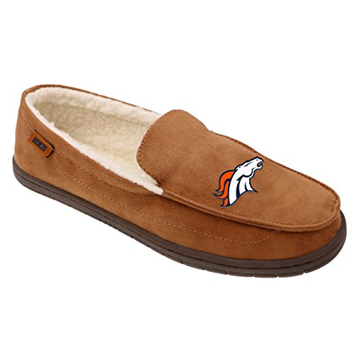 Denver Broncos NFL Mens Beige Moccasin - (Denver Broncos Collectibles)