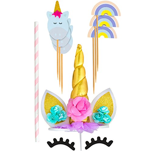 (TRENDY BRANDY Unicorn Birthday Cake Topper Handmade with Ears, Gold Unicorn Horn, Eyelashes and 6 Cupcake Toppers Party Cake Decoration for Baby Shower, Cake Smash, Durable Prong, Reusable 7 in 1 Pack)