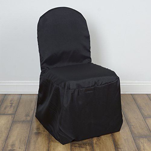 BalsaCircle 50 pcs Black Polyester Banquet Chair Covers Slipcovers for Wedding Party Reception Decorations