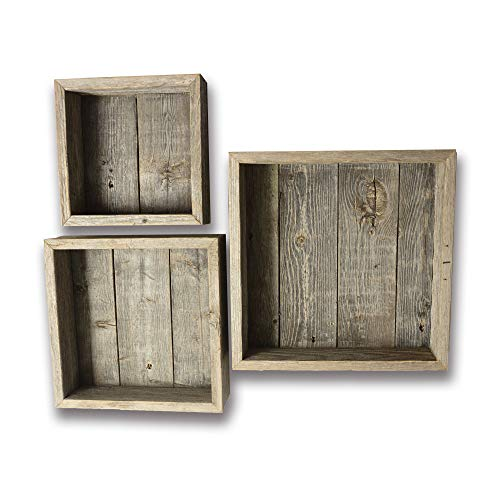 (Reclaimed Wood Shadow Box with Wood Backing - Rustic Farmhouse Barn Wood Style - Floating Shelves - Set of 3 Weathered Gray Farm House Box Frames)