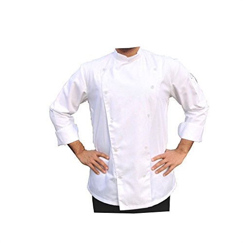 PROFESSIONAL WHITE CHEF COAT/ CHEF JACKET (Small) by Chef's Satchel