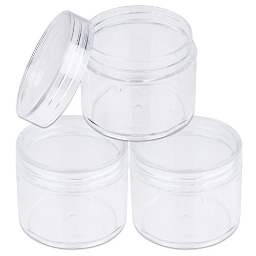 Beauticom 60 Grams/60 ML (2 Oz) Round Clear Leak Proof Plastic Container Jars with Clear Lids for Travel Storage Makeup Cosmetic Lotion Scrubs Creams Oils Salves Ointments (3 Jars)