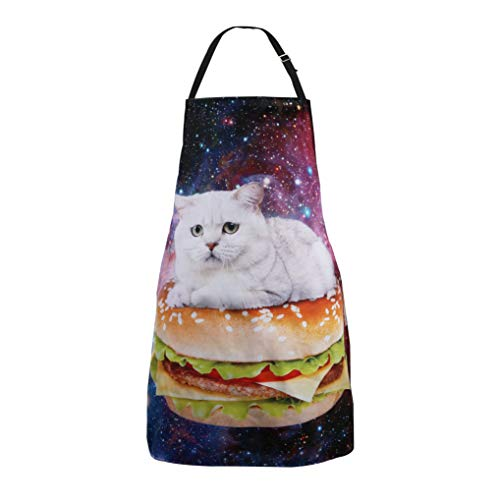 Cute Cat Apron,Pet Cat Lover Gift, Gift for Cat Owners, Cat Hamburger in Space Apron, Crazy Cat Lady, Kawaii Cat Apron, Tablier