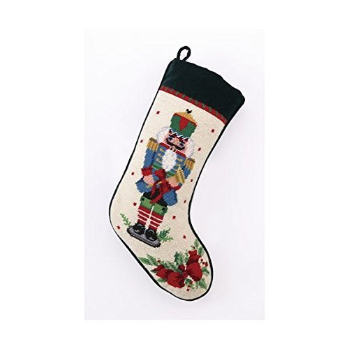 (Blue Nutcracker Melody with Trumpet Christmas Stocking, Wool & Velvet Needlepoint, 11 Inch X 18 Inch)