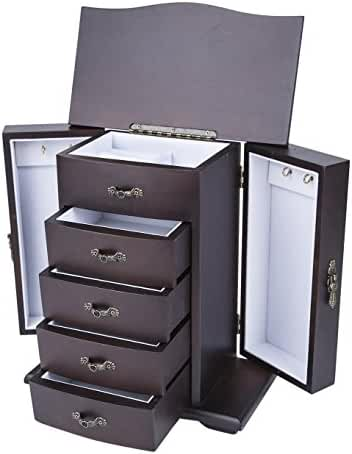 Saganizer Cherry Wooden Jewelry Box Organizer