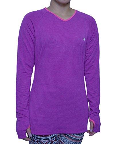 (Champion® Ladies Active Yoga Tee-Purple Stripe, Plum, Large)