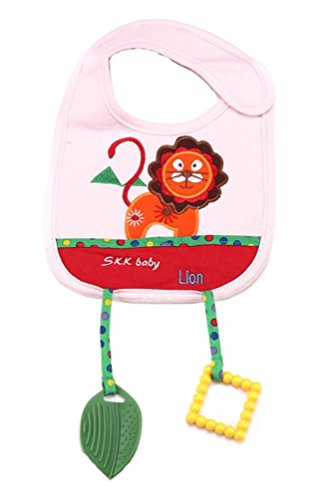 [Baby Bibs with Teether Toy Lion Animal Style Waterproof Cloths Saliva Towel Style] (Infant Red Minnie My First Disney Costumes)