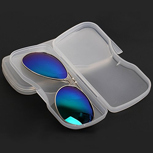 Eye Glasses Case,NNDA CO Portable Transparent Shell Case Protector Box For Clip-on Flip-up Len - Bans Ray Disney