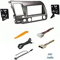 ASC Premium Taupe Car Stereo Radio Dash Install Kit, Wire Harness, and Antenna Adapter to Install an Aftermarket Radio for 2006 2007 2008 2009 2010 2011 Honda Civic - No Factory Nav