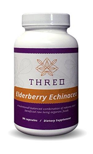 Threo Elderberry Echinacea Cold & Flu Immune Support Vitamin C - 90 (Sambucus Immune System Syrup)