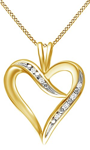 Womens Ribbon Accent - Jewel Zone US Natural Diamond Accent Heart-Shaped Ribbon Pendant Necklace in 14k Yellow Gold Over Sterling Silver