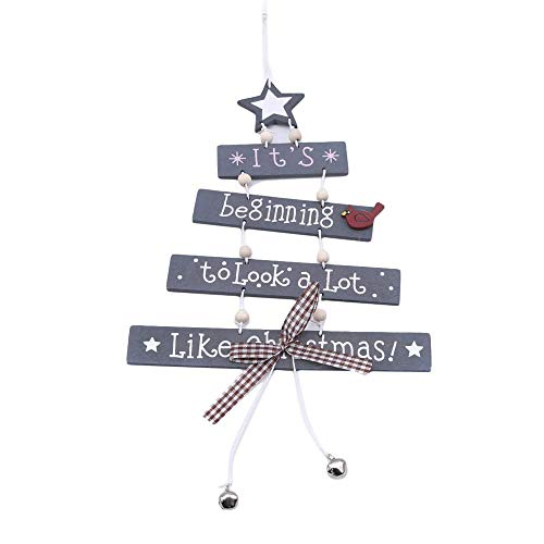 andy coolLetter Hanging Pendant Christmas Tree Glass Ornament Wooden Pendant Festival Party Decoration, Grey Durable and Practical