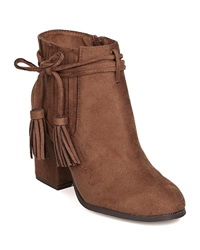 Faux Suede Wrap (BETANI FG50 Women Faux Suede Wraparound Tasseled Block Heel Bootie - Taupe (Size: 9.0))