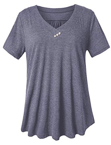 Knit Top V-neck Embellished - FOLUNSI Women's Casual V Neck Plus Size T Shirts Summer Tops Tee Carbon Purple Gray XL