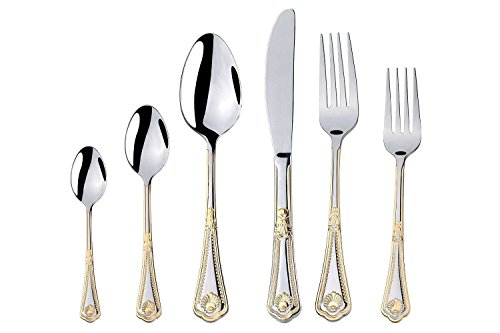 Italian Collection 75-Piece Premium Surgical Stainless Steel Silverware Flatware Set 18/10, Service for 12, 24K Gold-Plated Hostess Serving Set (Seashell) ()