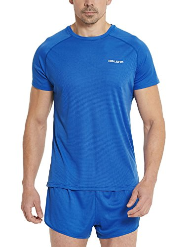 (Baleaf Men's Quick Dry Short Sleeve T-Shirt Running Fitness Shirts Royal Blue Size XXL )
