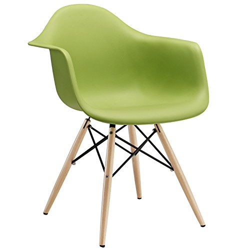 Modway Pyramid Dining Armchair with Natural Wood Legs in Green