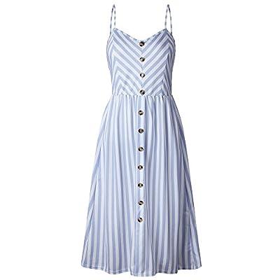 Women's V Neck Maxi Dresses, Ladies Sleeveless Button Casual Loose Striped Sundress Beach Dress: Toys & Games