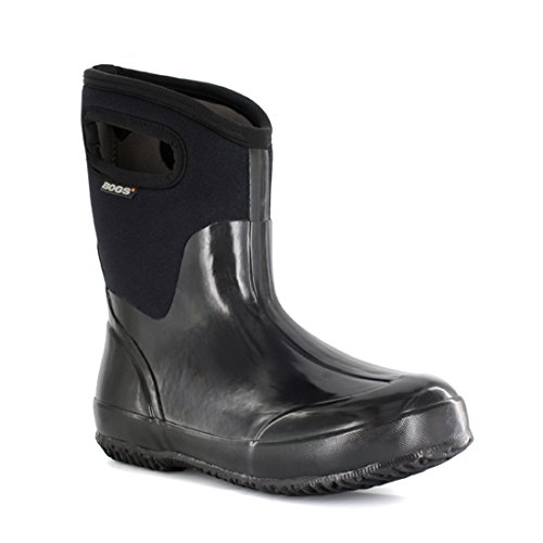 Bogs Womens Classic Mid Solid Boot Black Shiny Size 10