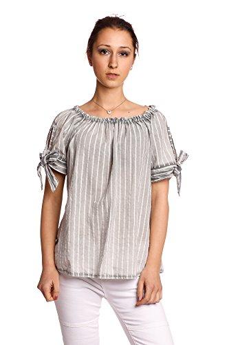 Abbino 80263 Blusas En Topless Con Sheife para Mujer - Hecho en ITALIA - 8 Colores - Entretiempo Transición Primavera Verano Otoño Mujeres Femeninas Saldi Elegantes Camisas Rebajas Gris