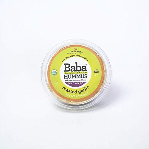 - Baba Small Batch Organic Hummus (8 oz) - Zero Preservatives, USDA Organic, Gluten Free, Vegan, Non-GMO, Cholesterol Free (Roasted Garlic Hummus)