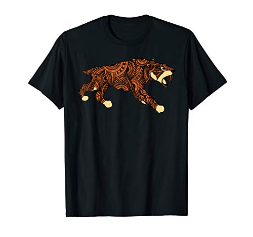 (Lone Sabertooth Tiger Tribal Mandala Art Silhouette T-Shirt)