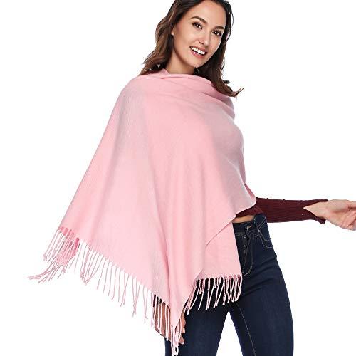 HOYAYO Cashmere Wool Shawl Wraps - Extra Large Thick Soft Pashmina Scarf(Pink)