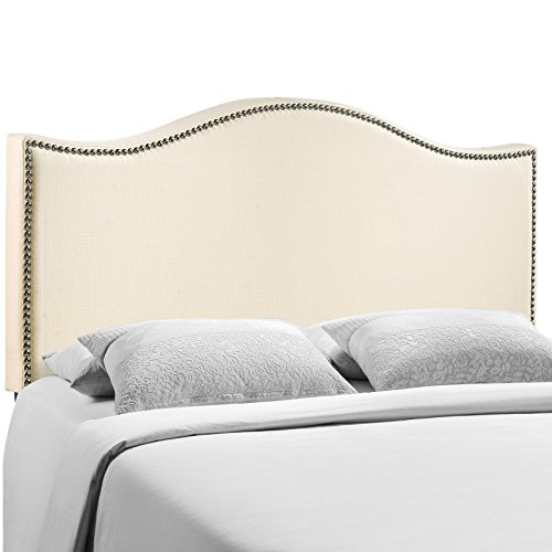 Modway Curl Upholstered Linen Headboard Queen Size With Nailhead Trim and Curved Shape In (Ivory Metal Headboard)