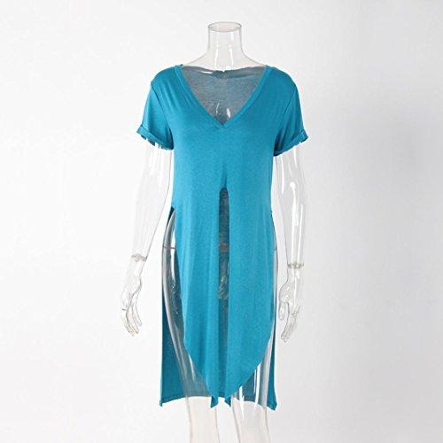 IMJONO Pantalones cortos de la correa V de la blusa de la camiseta de la camisa de manga corta ocasional del verano de las mujeres Azul