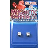 Fake Piercing Earrings with Clear CZ Cubic Zirconia Prong Set SQUARE Gem (Magnetic)