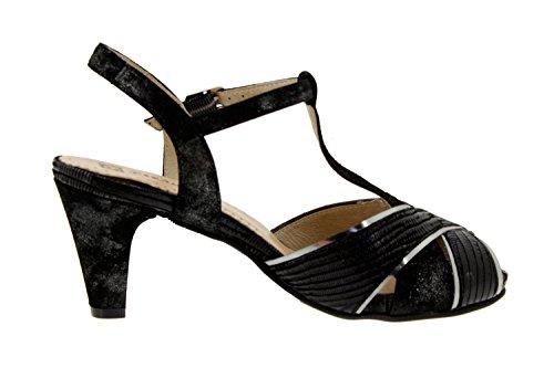Calzado mujer confort de piel Piesanto 6258 sandalia fiesta zapato cómodo ancho Tejus Negro