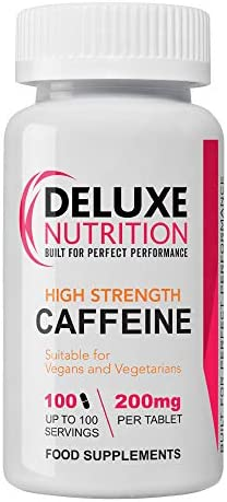 DELUXE NUTRITION CAFFEINE 100 x 200mg Tablets (ENGLISH MANUAL)