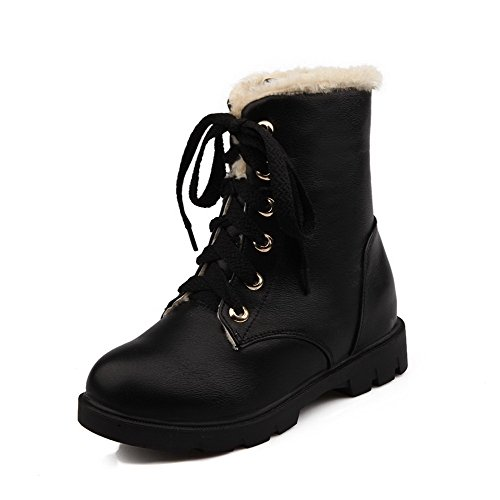 Up Black Material Solid Soft Toe Lace Women's AmoonyFashion Closed Boots Heels Low Round qgnZvO