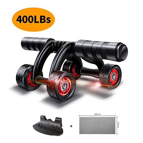 KANSOON Ab Wheel Fitness Equipment - 4 Wheels Innovative Ergonomic Abdominal Roller Carving System - Home Gym Boxing Exercise Workout Equipment - 4-Wheel Roller (4 Wheels) (Best Boxing Equipment For Home)