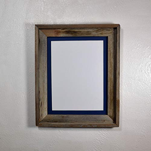 Picture Frame With 9x12 Dark Blue Mat Repurposed Wood Rustic Style Complete 11