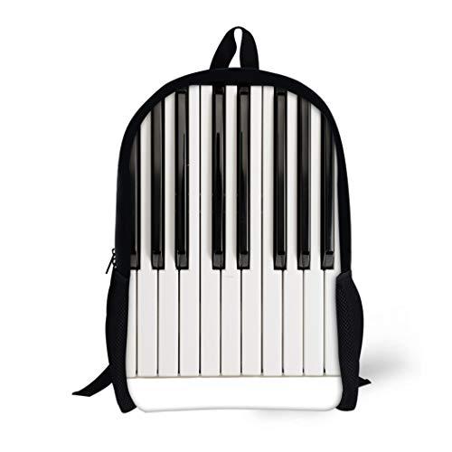 (Pinbeam Backpack Travel Daypack Music Piano Keys Vintage Acoustic Black Chord Classic Waterproof School Bag)