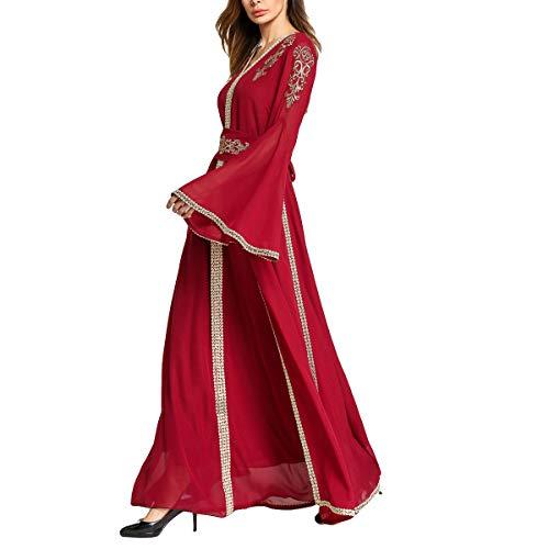 Maxi stampa a floreale flare lunghe sera abito a arabo Red GFSOEDIDEN lunghe maniche maniche da musulmana con qHBw7pd