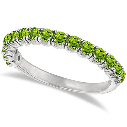 (Peridot Semi-Eternity Ring Band 14k White Gold (1.09ct))