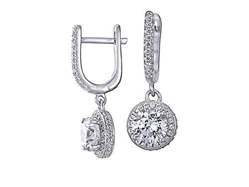 NANA Sterling Silver Dangle Drop Leverback Halo Earrings with 3ctw Swarovski Zirconia CZ Simulated Diamonds