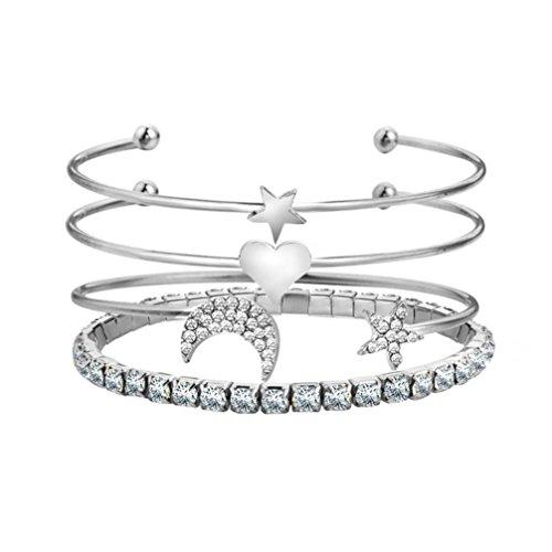 Cute Heart Star Moon Bangle Open Alloy Bracelet 4 Set (Silver) - Open Strand Bracelet Heart