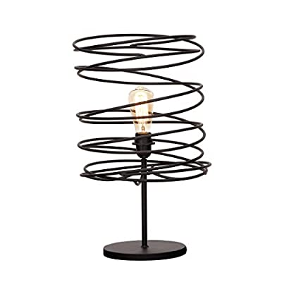 Urban Designs 7718629 Decorative Coiled Iron Shade Table Lamp, Black
